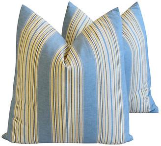 One Kings Lane Vintage French Blue Striped Ticking Pillows - Pr