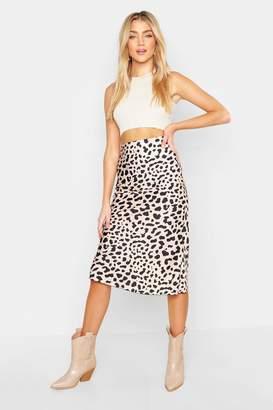 boohoo Bias Satin Leopard Print Midaxi Skirt