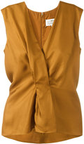 Maison Margiela pleated front sleeveless blouse