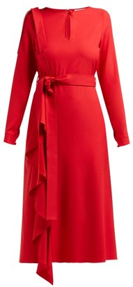 Osman Ellen Draped Crepe Dress - Womens - Red