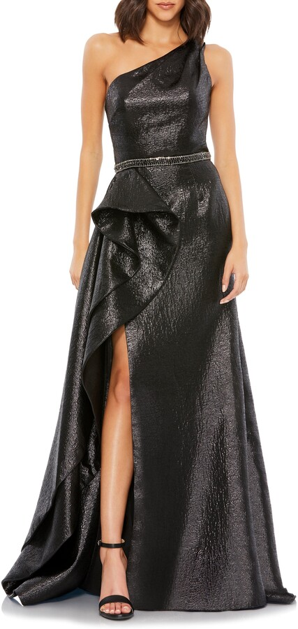 Thumbnail for your product : Mac Duggal One-Shoulder Ruffle Metallic Mermaid Gown