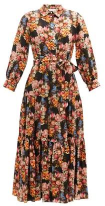Borgo de Nor Issa Floral-print Satin-jacquard Midi Shirt Dress - Black Multi