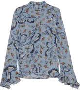 Erdem Lindsey Floral-print Silk Crepe De Chine Blouse - Blue