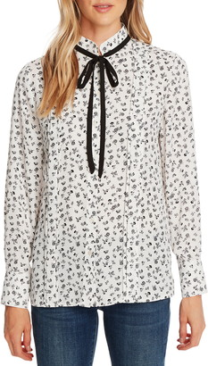 CeCe Ditsy Etching Tie Neck Long Sleeve Blouse