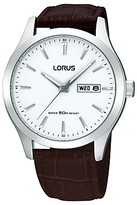 Lorus Rxn29dx9 Classic Day Date Leather Strap Watch, Brown/white