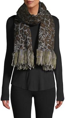 La Fiorentina Printed Wool Rabbit Fur Scarf