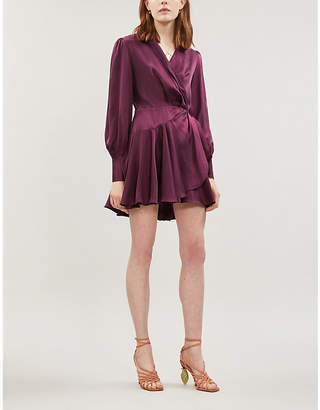 Zimmermann Belted silk wrap mini dress