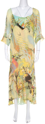Roberto Cavalli Yellow Abstract Print Draped Neck Maxi Dress XL