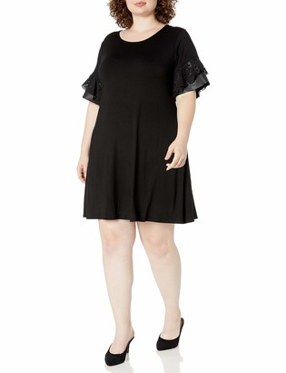 Karen Kane Women's Plus Size Contrast Ruffle Sleeve Dress