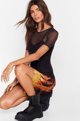 Nasty Gal Womens You'Re On Fire Babe Mesh Tee Dress - Black - 8, Black