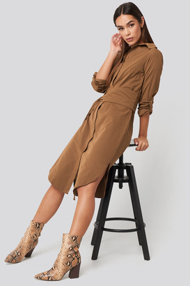 Trendyol Midi Belted Shirt Dress Brown