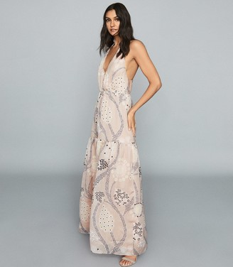 Reiss FREDDIE PRINTED MAXI DRESS Pale Nude