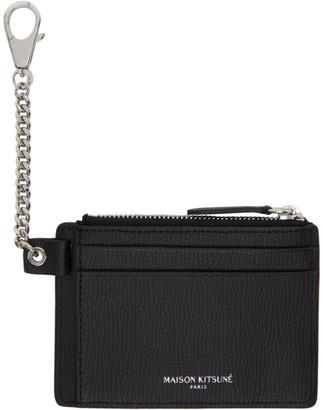MAISON KITSUNÉ Black Leather Card Holder