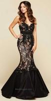 Mac Duggal Beaded Lace Mermaid Evening Dress