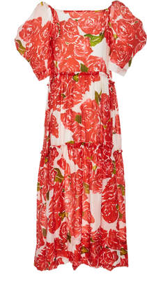 Rhode Resort Aurora Tiered Floral-Print Tencel-Blend Midi Dress