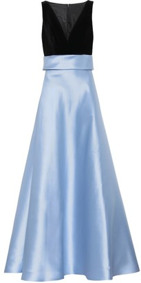 Costarellos Silk-twill and velvet gown