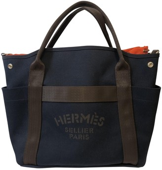 Hermes Blue Linen Travel bags