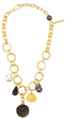 Lizzie Fortunato Byzantine Gold Plated Charm Necklace - Womens - Gold