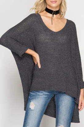 She + Sky Oversized V-Neck Sweater