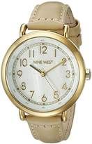 Nine West Women's NW/1726WMNT Easy To Read Gold-Tone and Tan Leather Strap Watch