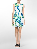 Calvin Klein Abstract Print Scuba Sleeveless Fit + Flare Dress