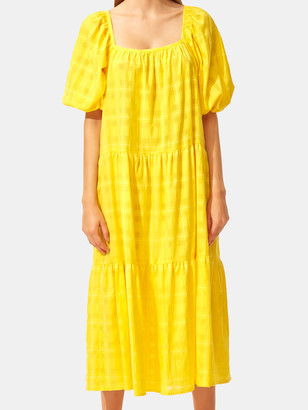 Solid & Striped Peasant Midi Dress