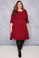 Yours Clothing SCARLETT & JO Royal Red Swing Dress With Leaf Fabric Collar