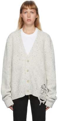 Maison Margiela Off-White Distressed Cardigan