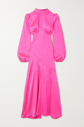 De La Vali Clara Paneled Satin Dress - Bright pink
