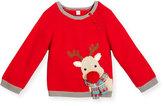 Zubels Boys' Cotton Reindeer Sweater, Red, Size 2-6X