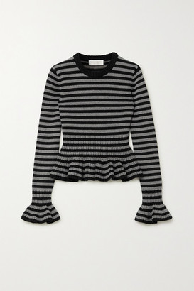 Michael Kors Collection Striped Cashmere Peplum Top - Black