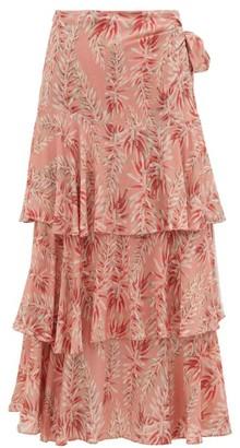 Adriana Degreas Aloe Print High Rise Tiered Poplin Wrap Skirt - Womens - Pink Print