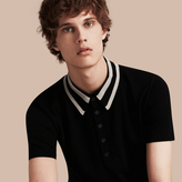 Burberry Striped Collar Wool Blend Polo Shirt