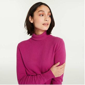 Joe Fresh Women's Cashmere-Blend Turtleneck Sweater, Fuchsia (Size XL)