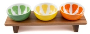 Thirstystone Closeout! Footed Wood Board with 3 Ceramic Citrus Bowls