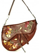 Christian Dior excellent (EX Brown Leather Purple & Green Embroidered Flower Saddle Shoulder Bag