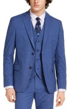 Alfani Men's Slim-Fit Stretch Medium Blue Plaid Suit Jacket, Created for Macy's