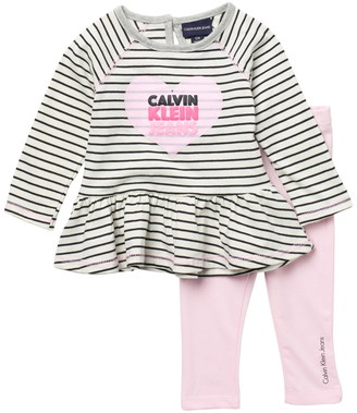 Calvin Klein Long Sleeve Ruffled Top & Leggings Set