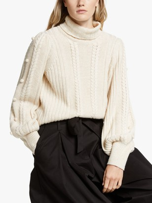 Somerset by Alice Temperley Bobble Knit Jumper, Stone