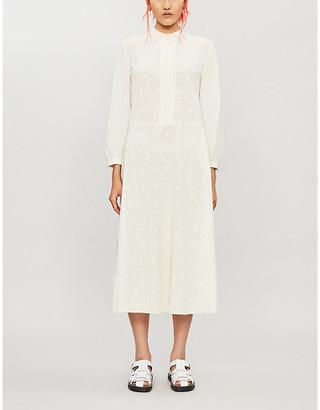 RENLI SU Floral-embroidered cotton midi shirt dress