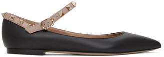 Valentino Black Garavani Ankle Strap Rockstud Ballerina Flats