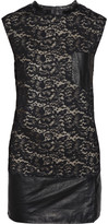 Lace and leather mini dress