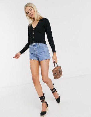 ASOS DESIGN fine knit cardigan with buttons