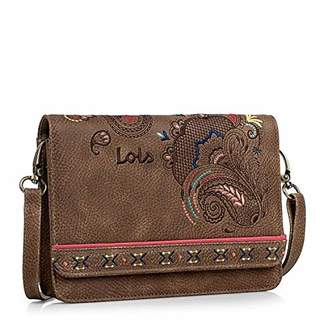 Lois Shoulder bag, waistbag. Clasp closing. Adjustable and removable shoulder strap. Woman. Printed linner. Inside pockets. Waistbag convertible. Embroidered design. Synthetic leather. 302635, Color