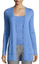 Michael Kors Long Cashmere V-Neck Cardigan, Blue