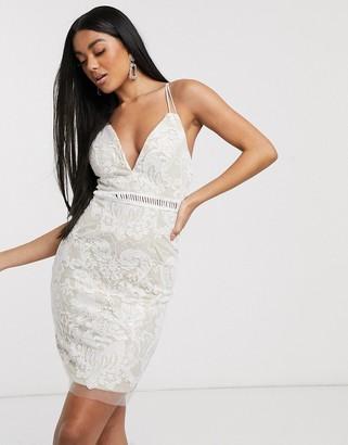 Love Triangle lace midi dress in white