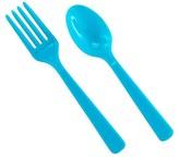Aqua Blue Plastic Fork & Spoon - 8 each