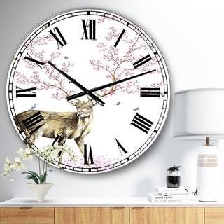 Design Art Designart 'Cherry Blossom Deer' Oversized Cottage Wall Clock