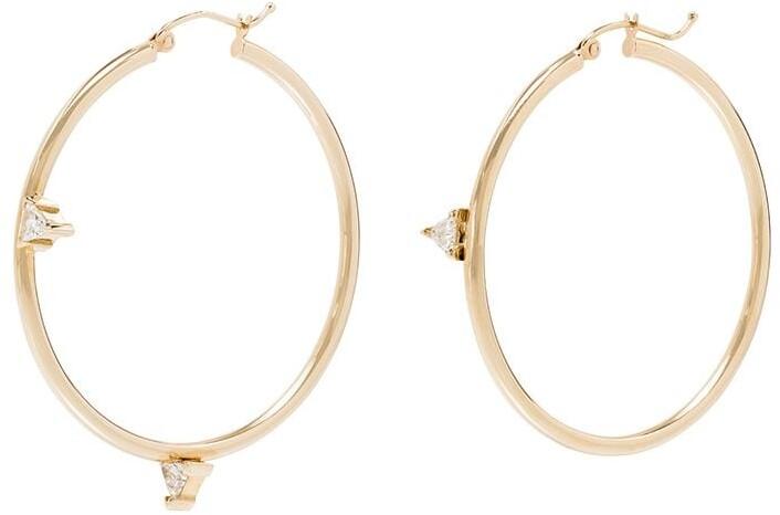 Dru Mismatched Trillions 14kt yellow gold diamond hoop earrings