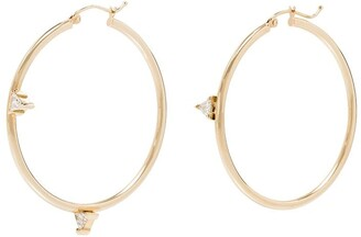 Dru Mismatched Trillions 14kt yellow gold diamond hoop earrings